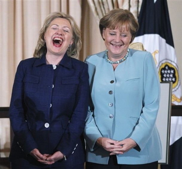 German Chancellor Angela Merkel with Hilary Clinton