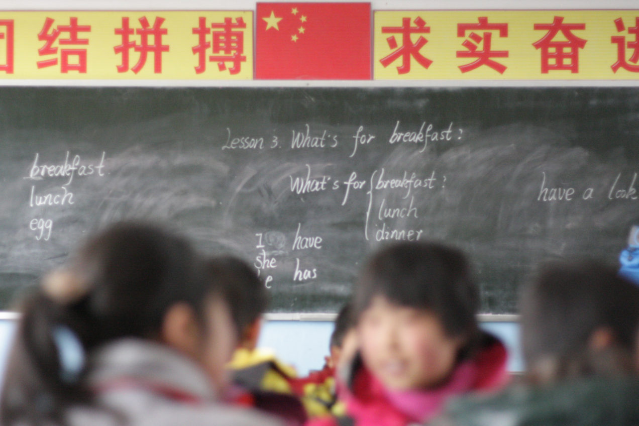 (Anding District, Gansu Province, CHINA) - Students in class in a school that parents believe was hit by a food poisoning outbreak.  ©Stephanie Burnett